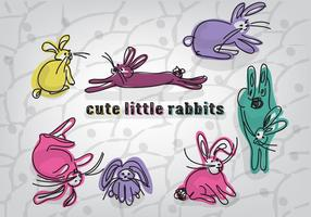 Free Cute Little Rabbits Vektor Hintergrund