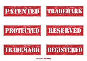Selos de vetores patenteados do grunge