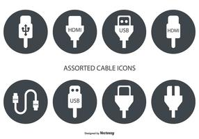 Iconos vectoriales de cable HDMI y USB variados
