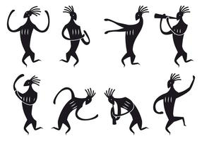 Kokopelli Figure Dancing Vectors