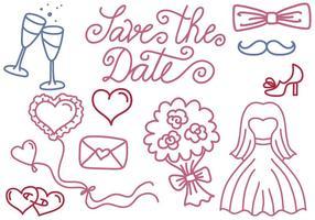 Gratis bruiloft en de datumvectoren opslaan
