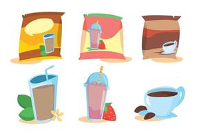 Instant drink sachet vector set
