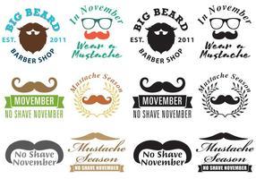 Vettori di logo di Movember dei baffi