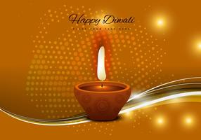 Diwali Oil Lamp With Glowing Background