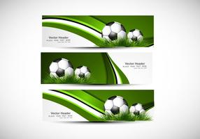 Header With Green Grass And Soccer vector