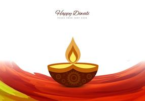 Decorative Diya On Colorful Wave