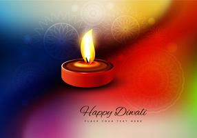 Oil Lit Diya On Colorful Background