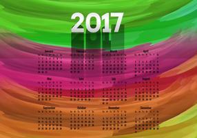 Calendário colorido do ano 2017