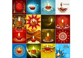 Happy Diwali Greeting Card With Oil Lamp vector