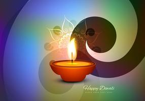 Happy Diwali Card With Glowing Oil Lamp