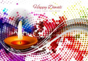 Diwali Diya With Halftone Design