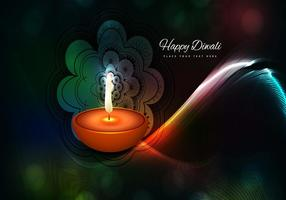 Oil Lamp And Rangoli On Wave Background