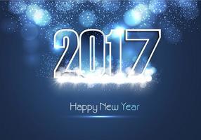 Cartão brilhante brilhante do ano novo 2017 do azul brilhante