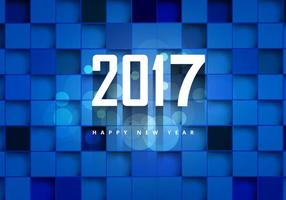2017 Happy New Year On Blue Cubic Background