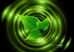 Eco green leaves on dark background