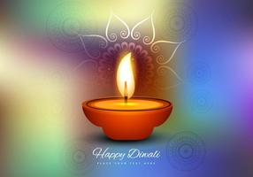 Burning Diya On Colorful Background