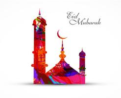 Eid Mubarak Festival With Colorful Mosque vector