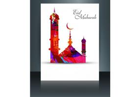 Eid Mubarak With Mosque On Card vector