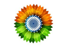 Floral Indian Flag With Asoka Wheel vector