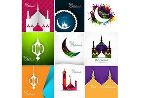 Vacker designmoské med Eid Mubarak
