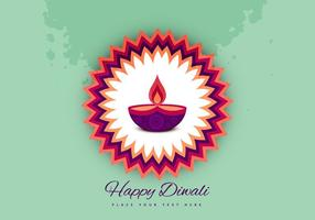 Diwali Oil Lamp On Beautiful Rangoli vector