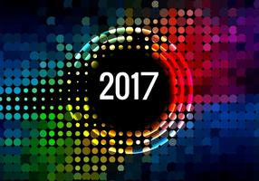Happy New Year 2017 Card With Halftone Pattern