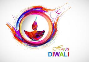 Colorful Diya With Watercolor Brush Stroke Design