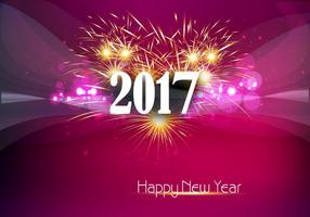 Happy New Year 2017 Banner With Fire Cracker