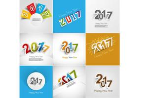 Set Of 2017 Happy New Year Greeting Card
