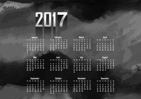 Calendario del año 2017 con color negro