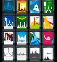 Verzameling Van Ramadan Kareem Kaart Met Moskee