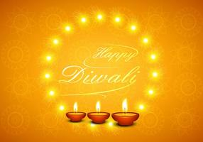 Happy Diwali Greeting Card With Glowing Diyas