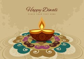 Rangoli And Diya On Grunge Background