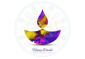 Watercolor Diwali Diya On Rangoli