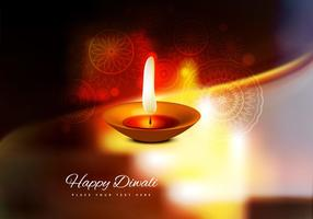 Burning Diya On Happy Diwali Card
