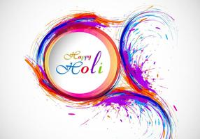 Splash Of Holi Color On Card vector