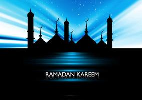 Silhouette Of Mosque On Ramadan Kareem Card vector