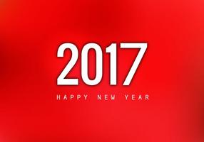 Happy New Year 2017 On Red Background