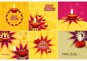 Collection Of Diwali Card vector