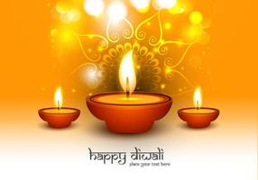 Happy Diwali Text With Oil Lit Lamps