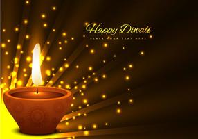 Glowing Diya On Brown Background