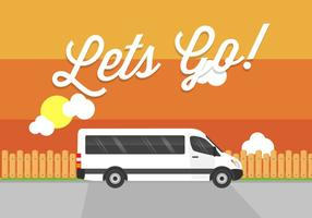 Lass uns gehen! Minibus Vektor