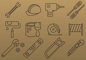 Vecteurs d'icônes d'outils de ligne mince
