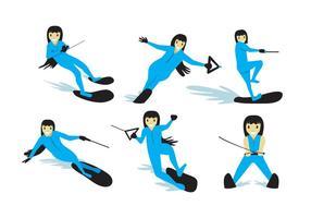 Vector de menina de esqui aquático