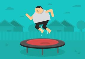 Guy Jumping On Trampoline vector