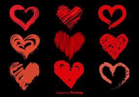 Handdragen sketchy vektor hjärtan