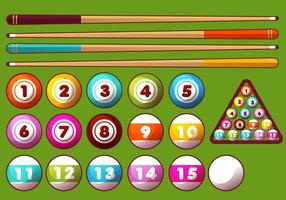 Pool Sticks and Balls Vector Set