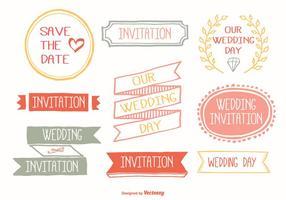 Bonito conjunto de etiquetas de casamento desenhadas a mão