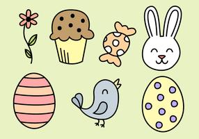 Vector de elementos de Pascua gratis