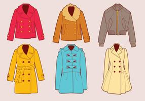 Conjunto de vetores de inverno e casaco